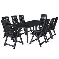 vidaXL 9 Piece Outdoor Dining Set Plastic Anthracite