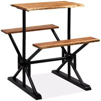 vidaXL Bar Table with Benches Solid Acacia Wood 80x50x107 cm