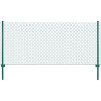 vidaXL Wire Mesh Fence with Posts Steel 25x0.5 m Green