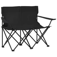 vidaXL 2-Seater Foldable Camping Chair Steel and Fabric Black