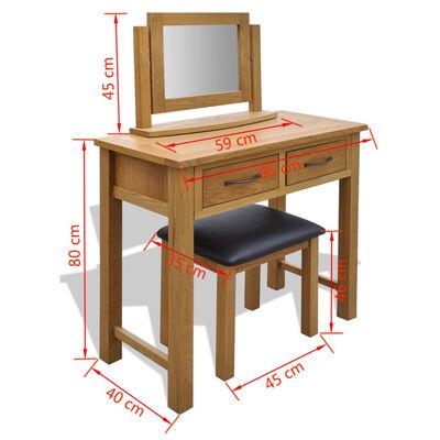 vidaXL Dressing Table with Stool Solid Oak Wood,