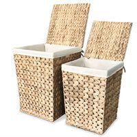 vidaXL Laundry Basket Set 2 Pieces Water Hyacinth