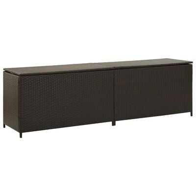 vidaXL Garden Storage Box Poly Rattan 200x50x60 cm Brown