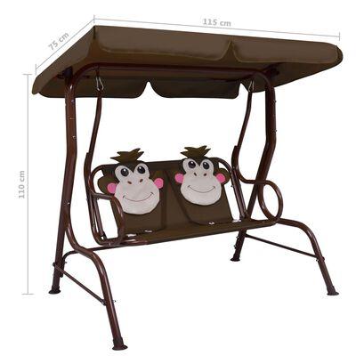 vidaXL Kids Swing Bench Brown 115x75x110 cm Fabric, Brown