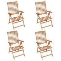 vidaXL Reclining Garden Chairs 4 pcs Solid Teak Wood
