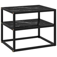 vidaXL Console Table Black 50x40x40 cm Tempered Glass