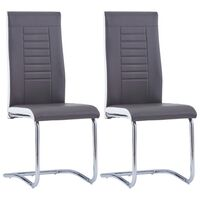 vidaXL Cantilever Dining Chairs 2 pcs Grey Faux Leather