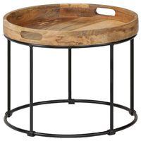 vidaXL Coffee Table Solid Mange Wood and Steel 50x40 cm