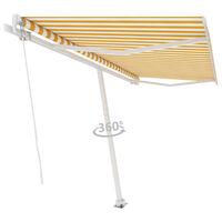 vidaXL Freestanding Manual Retractable Awning 450x300 cm Yellow/White