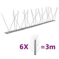 vidaXL 4-row Stainless Steel Bird & Pigeon Spikes Set of 6 3 m
