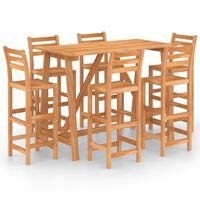 vidaXL 7 Piece Outdoor Bar Set Solid Acacia Wood
