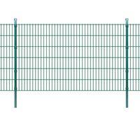 vidaXL 2D Garden Fence Panels & Posts 2008x1230 mm 34 m Green