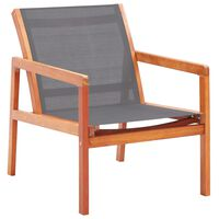 vidaXL Garden Lounge Chair Grey Solid Eucalyptus Wood and Textilene