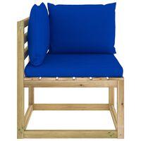 vidaXL Garden Corner Sofa with Cushions Green Impregnated Pinewood