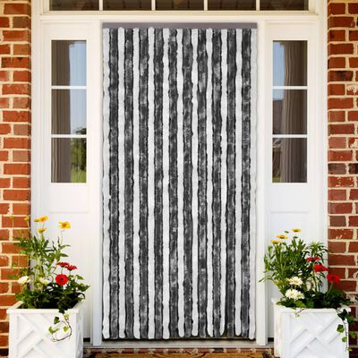 vidaXL Insect Curtain Grey and White 56x200 cm Chenille
