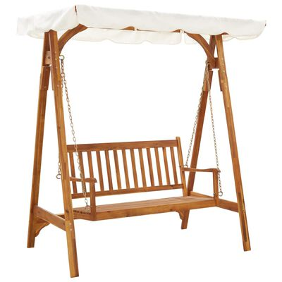 vidaXL Garden Swing Bench with Canopy Solid Acacia Wood, White