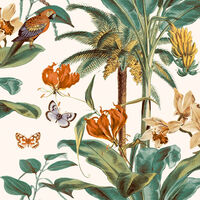 DUTCH WALLCOVERINGS Wallpaper Tropical Palm Green and Orange
