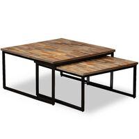 vidaXL Nesting Coffee Table Set 2 Pieces Solid Reclaimed Teak