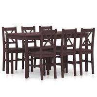 vidaXL 7 Piece Dining Set Pinewood Dark Brown