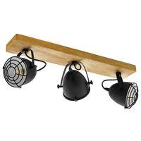 EGLO Spot Light Gatebeck  3 Lamps Steel and Wood Black