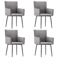 vidaXL Dining Chairs with Armrests 4 pcs Grey Velvet