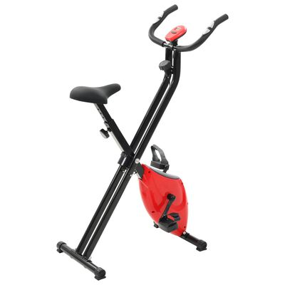 vidaXL Magnetic Exercise X-Bike with Pulse Measurement Black and Red, Red