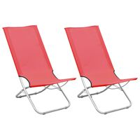 vidaXL Folding Beach Chairs 2 pcs Red Fabric