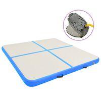 vidaXL Inflatable Gymnastics Mat with Pump 200x200x15 cm PVC Blue