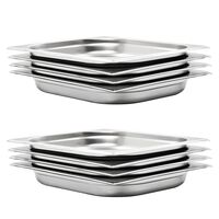 vidaXL Gastronorm Containers 8 pcs GN 1/2 40 mm Stainless Steel