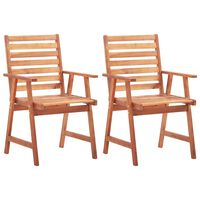 vidaXL Outdoor Dining Chairs 2 pcs Solid Acacia Wood