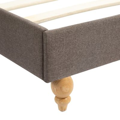 vidaXL Bed Frame with LED Taupe Fabric 135x190 cm