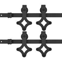 vidaXL Sliding Door Hardware Kits 2 pcs 183 cm Steel Black