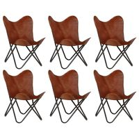 vidaXL Butterfly Chairs 6 pcs Brown Kids Size Real Leather