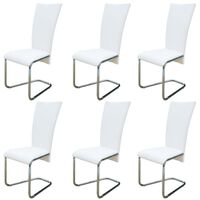 vidaXL Cantilever Dining Chairs 6 pcs White Faux Leather