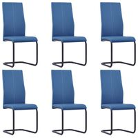 vidaXL Cantilever Dining Chairs 6 pcs Blue Faux Leather