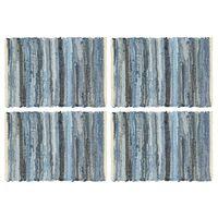 vidaXL Placemats 4 pcs Chindi Denim Blue 30x45 cm Cotton