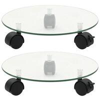 vidaXL Plant Rollers 2 pcs Tempered Glass 28 cm Round