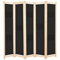 vidaXL 5-Panel Room Divider Black 200x170x4 cm Fabric