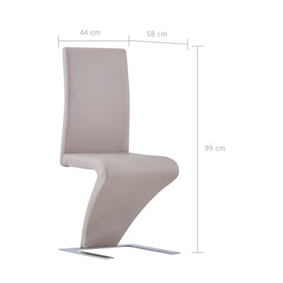 vidaXL Dining Chairs with Zigzag Shape 4 pcs Cappuccino Faux Leather