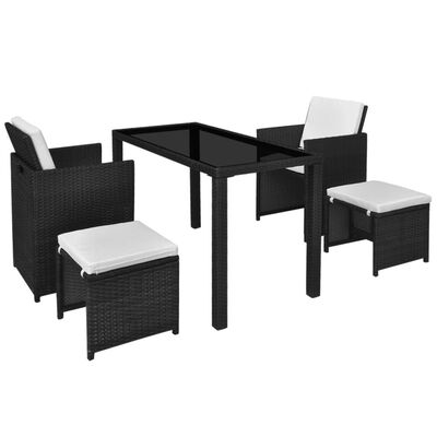 vidaXL 11 Piece Outdoor Dining Set with Cushions Poly Rattan Black