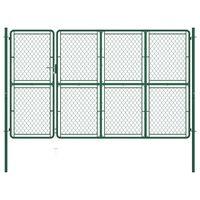 vidaXL Garden Gate Steel 150x350 cm Green