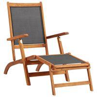 vidaXL Sun Lounger Solid Acacia Wood and Textilene