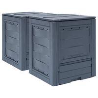 vidaXL Garden Composters 2 pcs Grey 60x60x73cm 520 L