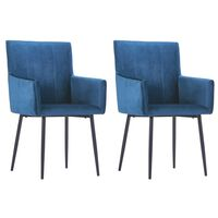 vidaXL Dining Chairs with Armrests 2 pcs Blue Velvet