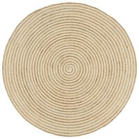 vidaXL Handmade Rug Jute with Spiral Design White 150 cm