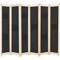 vidaXL 6-Panel Room Divider Black 240x170x4 cm Fabric