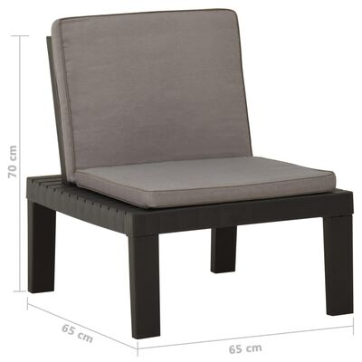 vidaXL Garden Lounge Chair with Cushion Plastic Grey