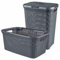 Curver Style 2 Piece Laundry Hamper and Basket Set 45L+60L Anthracite