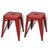 vidaXL Stacking Stools 2 pcs Red Metal