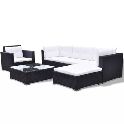 vidaXL 6 Piece Garden Lounge Set with Cushions Poly Rattan Black